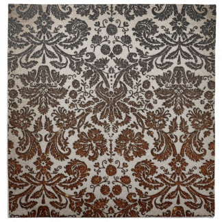 Copper, Black, and Brown Damask Napkin