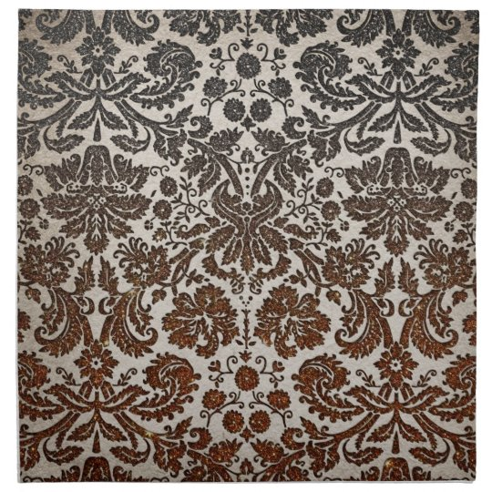 Copper, Black, and Brown Damask Printed Napkin