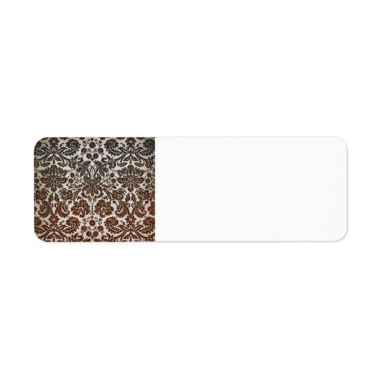 Copper, Black, and Brown Damask Return Address Label