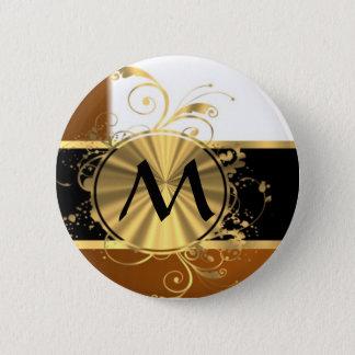 Copper black and gold monogram 2 inch round button