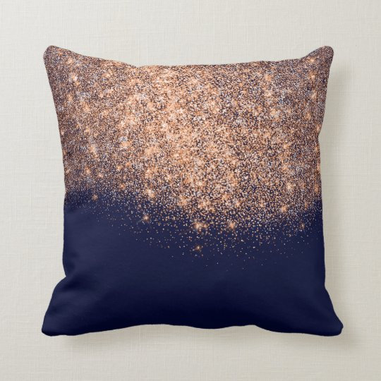 Copper Blue Navy Rose Glitter Makeup Artist Beauty Throw Pillow