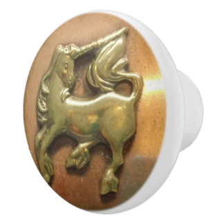 Copper & Brass Unicorn Medallion Ceramic Knob