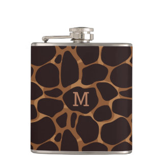 Copper Brown Abstract Leopard Pattern Hip Flask