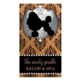 Copper Brown Jeweled Damask Dog Grooming/Spa Business Card