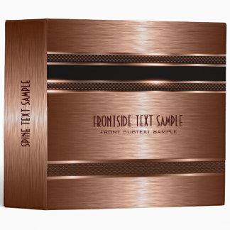 Copper Brown Metallic Brushed Steel Look 3 Ring Binders