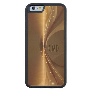 Copper Brown Metallic Retro Dynamic Wave Carved Maple iPhone 6 Bumper Case