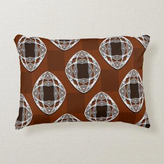 Copper Brown Nouveau Checked Pattern Accent Pillow