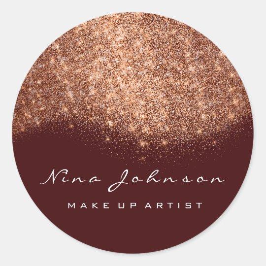 Copper Burgundy Rose Glitter Makeup Artist Beauty Classic Round Sticker