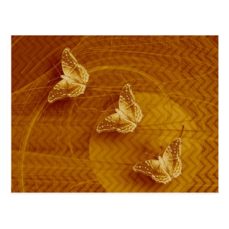 copper butterflies and fractal horizontal postcard