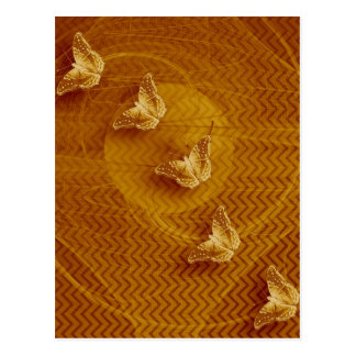 copper butterflies and fractal vertical postcard