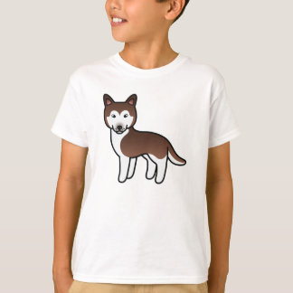 Copper Cartoon Siberian Husky T-Shirt