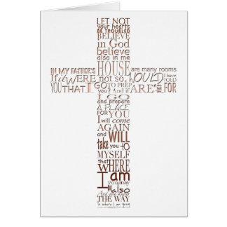Copper Christian Cross John 14  Sympathy Thank You Card