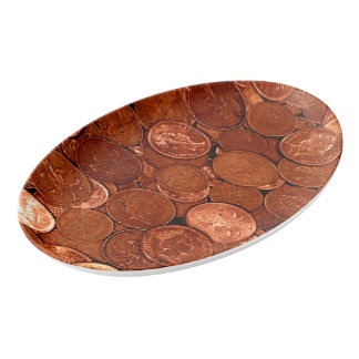 Copper Coins Porcelain Serving Platter