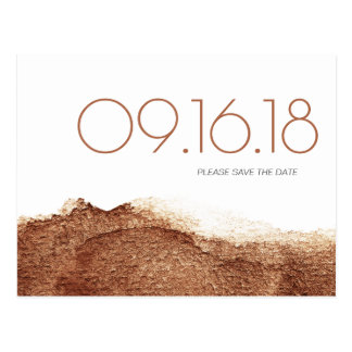 Copper color modern simple wedding save the date postcard