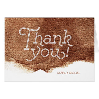 Copper color modern simple wedding thank you card