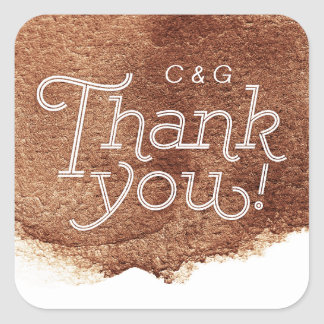 Copper color modern simple wedding thank you square sticker