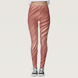 Copper Color Tiger Striped Leggings