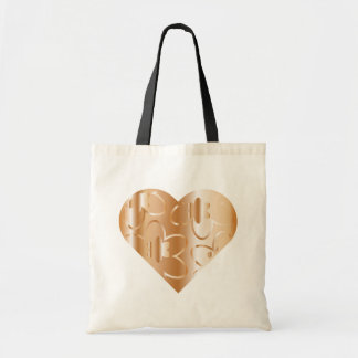 Copper Colored Heart and Flowers Tote Bag