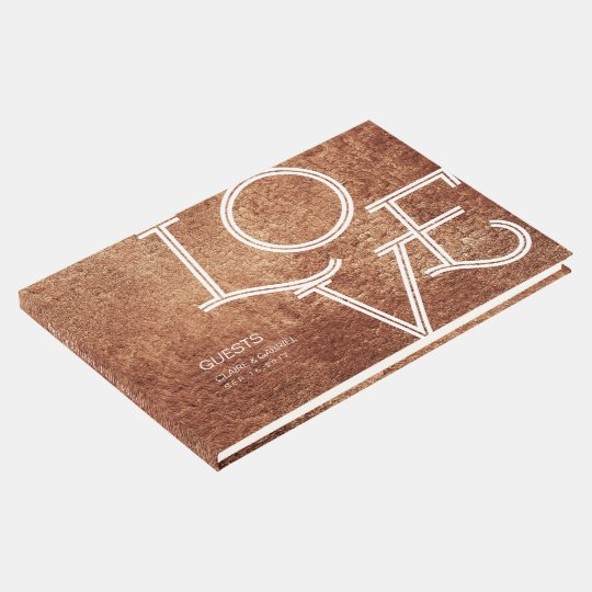 Copper colour love modern simple wedding guest guest book