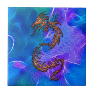Copper coloured Chinese Dragon on Blues V Tile