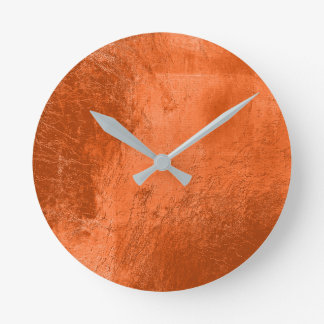 Copper Coral Leather Metal Glass Orange Minimal Round Clock