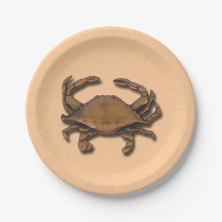 Copper Crab on Cream Paper Plate