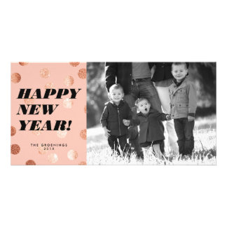 Copper Dots Modern Type Happy New Year Card Photo Card