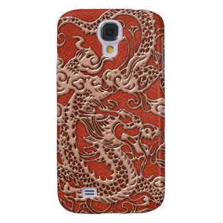 Copper Dragon on Deep Coral Leather Texture