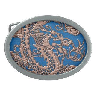 Copper Dragon on Lapis Blue Leather Texture Belt Buckles