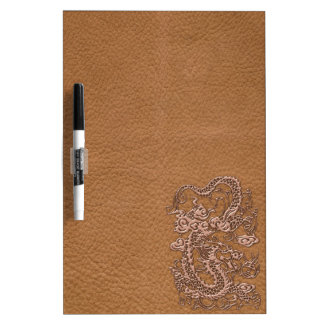 Copper Dragon on Natural Tan Leather Texture Dry-Erase Board