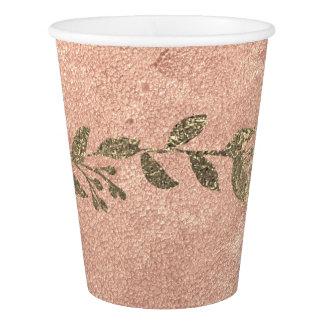 Copper Floral Rose Gold Bridal Wedding Hanukah Lux Paper Cup