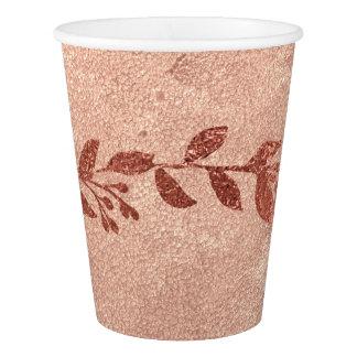 Copper Floral  Rose Gold Bridal Wedding Hanukah Paper Cup