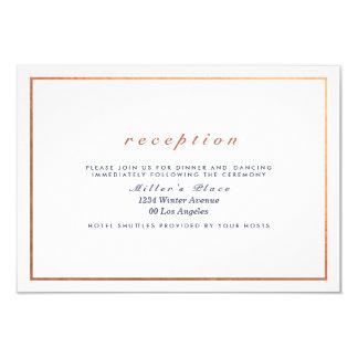 "Copper Frame on White Wedding Reception 3.5"" X 5"" Invitation Card"
