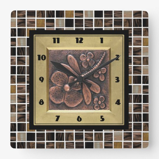 Copper Glass Tiles Wallclocks