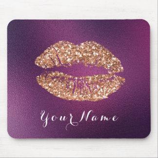 Copper Glitt Purple Amethyst Name Makeup Lips Kiss Mouse Pad