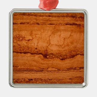 Copper Granite Silver-Colored Square Ornament