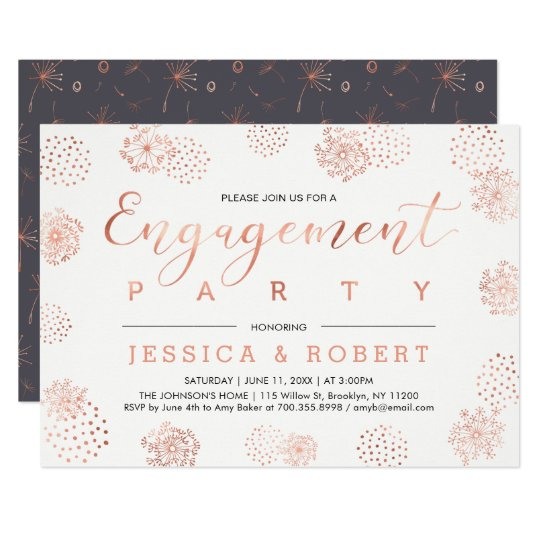 Copper & Grey   Simple Modern Engagement Party Card