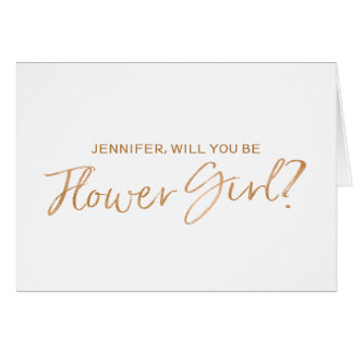 Copper Hand lettered Will you be my flower girl Card