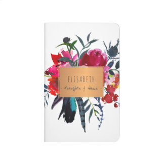 Copper label with watercolor bouquet chic journal