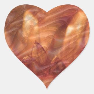 Copper Leaf Golden Shades:  Embossed Waves Heart Sticker