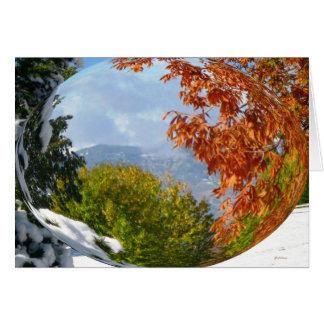 Copper Leaves on White Snow Globe Card