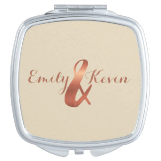 Copper-look ampersand custom design travel mirrors