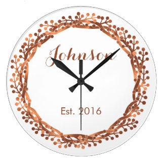 Copper-look berry wreath custom design large clock