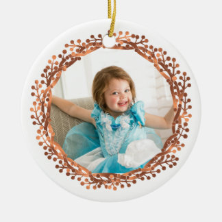 Copper-look Berry wreath & Merry Christmas script Ceramic Ornament