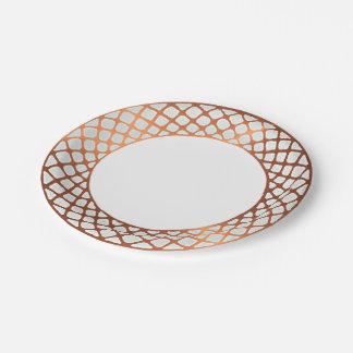 Copper look edged border design paper plate