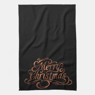 Copper-look Merry Christmas script kitchen towel