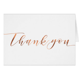 Copper-look Thank You script Card