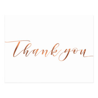 Copper-look Thank You script design Postcard