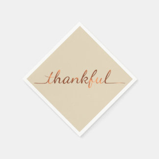 Copper-look Thanksgiving Thankful paper napkins
