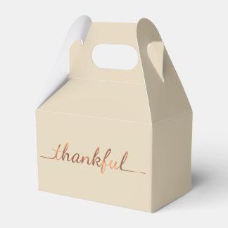 Copper-look Thanksgiving Thankful script design Favor Box